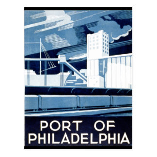 Port of Philadelphia Pennsylvania WPA 1936 Postcard