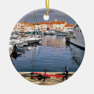 Port of Saint-Tropez in France Ceramic Ornament