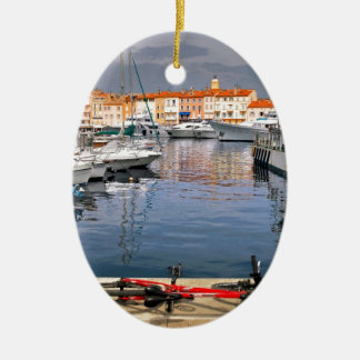 Port of Saint-Tropez in France Double-Sided Oval Ceramic Christmas Ornament