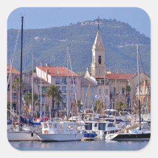 Port of Sanary-sur-Mer in France Square Sticker