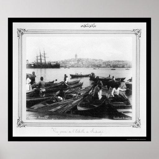 Port of Sirkeci Istanbul, Turkey 1885 Poster