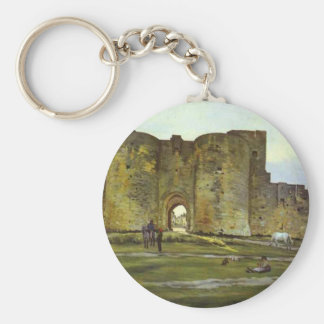 Port of the Queen at Aigues-Mortes by Frederic Basic Round Button Keychain