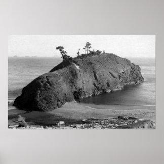 Port Orford, Oregon View of Battle Rock Coast Poster