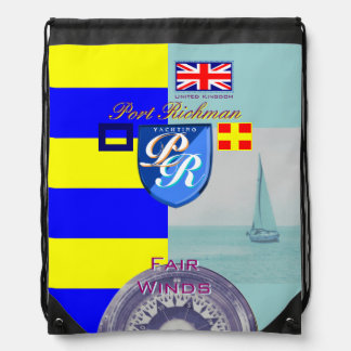Port Richman Yachting Nautical and UK Flag Drawstring Backpack