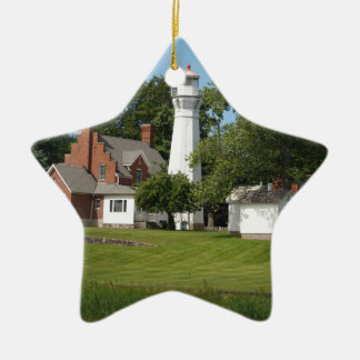Port Sanilac Double-Sided Star Ceramic Christmas Ornament