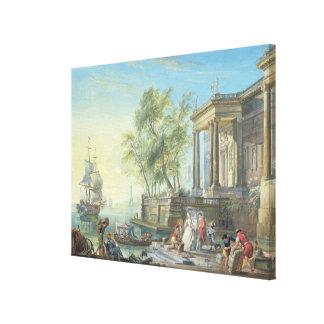 Port Scene with Setting Sun (oil on canvas) Canvas Print