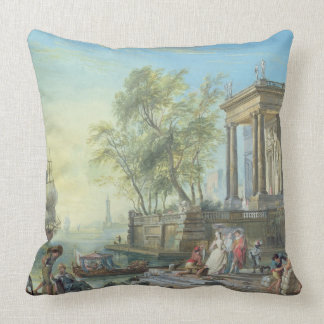 Port Scene with Setting Sun (oil on canvas) Pillow