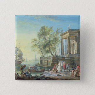 Port Scene with Setting Sun (oil on canvas) Pinback Button