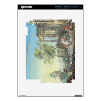 Port Scene with Setting Sun (oil on canvas) Skin For iPad 3
