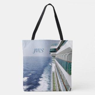 Port Side Balconies Monogrammed Nautical Tote Bag