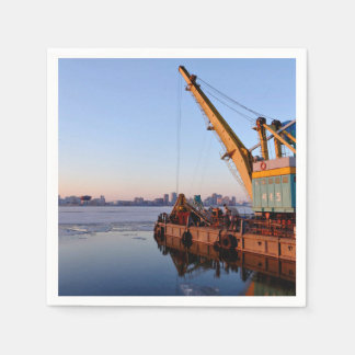 Port Themed, A Crane Situated At The Dock Of A Par Napkin