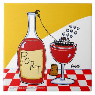 Port Wine Cartoon Humorous Kitchen Tile Large Square Tile