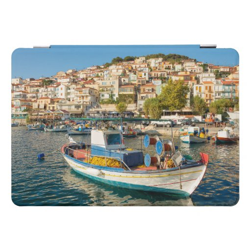 Port with fishing boats in Plomari, Lesvos, Greece iPad Pro Cover