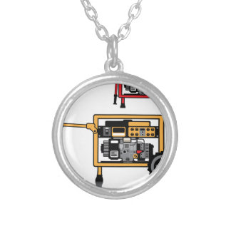 Portable Generator vector Round Pendant Necklace
