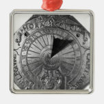Portable Sundial, from Sierk Castle  1756 Square Metal Christmas Ornament