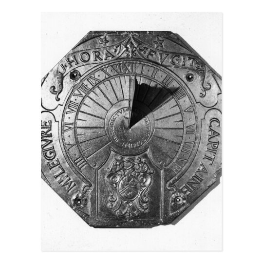 Portable Sundial, from Sierk Castle  1756 Postcard