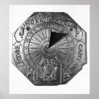 Portable Sundial, from Sierk Castle  1756 Poster