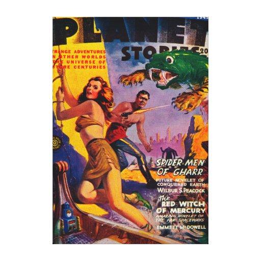 Portada de revista 4 de las historias del planeta impresión en lienzo