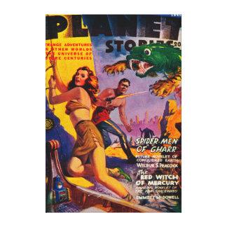 Portada de revista 4 de las historias del planeta impresión en lienzo estirada