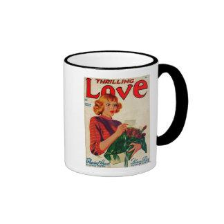 Portada de revista del amor que emociona taza de café