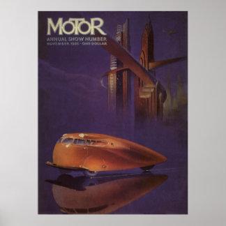 Portada de revista del motor del vintage, ciudad poster