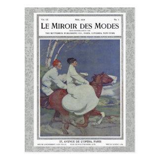 Portada de revista francesa del vintage con el postales