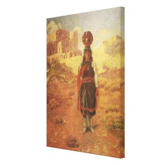 Portador de agua indio del vintage por guerra impresion de lienzo