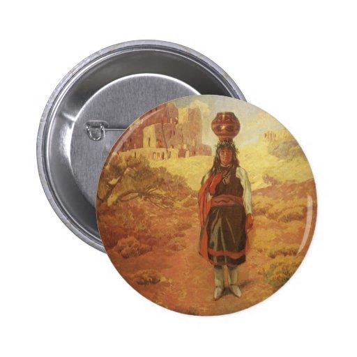 Portador de agua indio del vintage por guerra pin redondo 5 cm