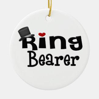 Portador de anillo del sombrero de copa adorno navideño redondo de cerámica