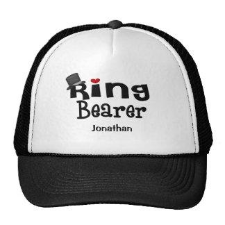 Portador de anillo del sombrero de copa gorros bordados