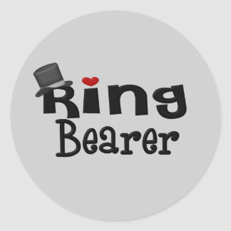 Portador de anillo del sombrero de copa pegatina redonda