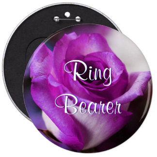Portador de anillo púrpura subió pin redondo de 6 pulgadas