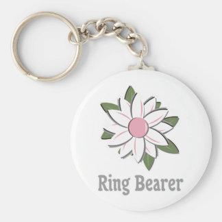 Portador de anillo rosado de la flor llaveros