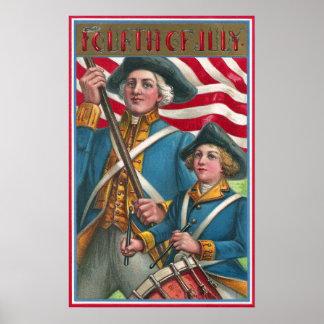 Portador de bandera y muchacho del batería impresiones