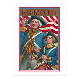 Portador de bandera y muchacho del batería tarjeta postal
