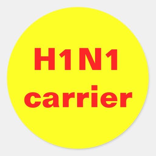 Portador H1N1 Pegatina Redonda