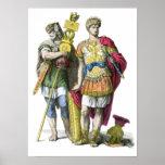 Portador y general estándar romanos antiguos impresiones