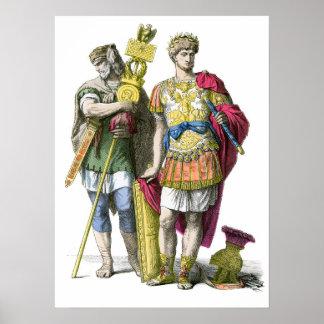 Portador y general estándar romanos antiguos póster