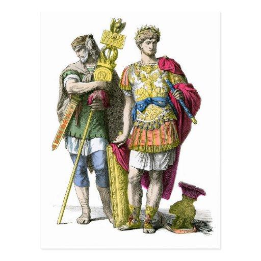 Portador y general estándar romanos antiguos tarjetas postales