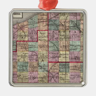 Portage and Trumbull Counties Square Metal Christmas Ornament