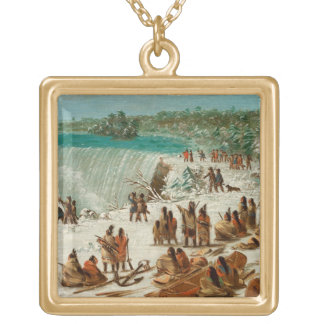 Portage Around the Falls of Niagara at Table Rock Gold Plated Necklace