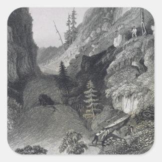 Portage en el río de la escarcha, el 19 de agosto pegatina cuadrada