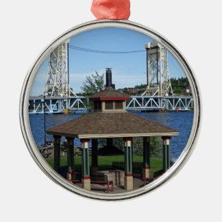 Portage Lake Lift Bridge Metal Ornament