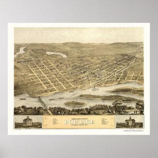 Portage, mapa panorámico de los WI - 1868 Póster