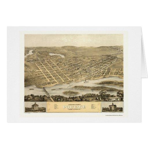 Portage, WI Panoramic Map - 1868 Greeting Card