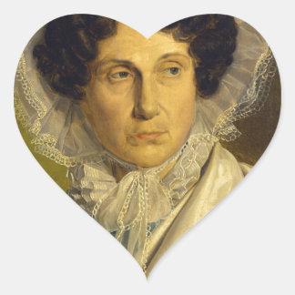 Portait de la madre del artista de Alfred Rethel Pegatina En Forma De Corazón