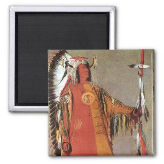 Portait del jefe indio Mato-Tope de George Catlin Imán Cuadrado