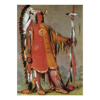 Portait del jefe indio Mato-Tope de George Catlin Poster