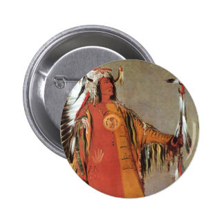 Portait of Indian Chief Mato-Tope by George Catlin Button