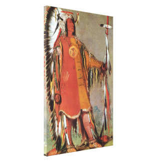 Portait of Indian Chief Mato-Tope by George Catlin Stretched Canvas Prints